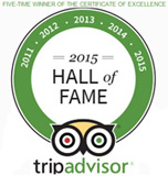 Trip Advisor - Certificate of Excellence - 2011, 2012, 2013, 2014 Winner