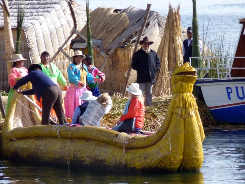 Native reed boat lake Titicaca